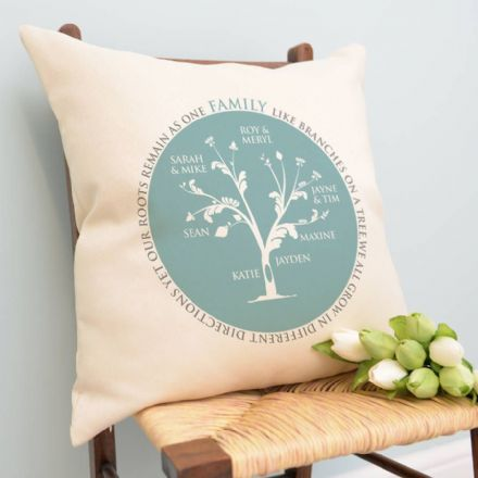 Personalised Family Tree Circle Cushion
